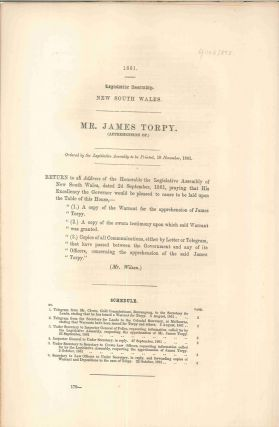 Mr. James Torpy (Apprehension of). PARLIAMENT OF NEW SOUTH WALES, P. L. CLOETE