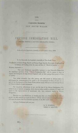 Chinese Immigration Bill. (Messrs. Merrill & Leavitt, Merchants, Sydney.). R. D. PARLIAMENT OF...