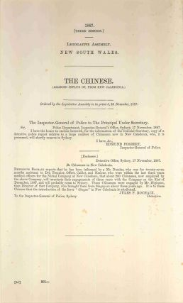 The Chinese. (Alleged influx of, from New Caledonia). PARLIAMENT OF NEW SOUTH WALES, Jules P....