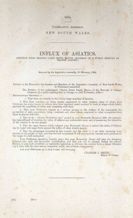 Influx of Asiatics (Petition from Charles James Smith, Mayor, Chairman of a public meeting at...