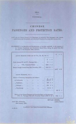 Chinese passenger and protection rates. PARLIAMENT OF VICTORIA, Edward GRIMES