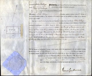 Land Grant to John College, in the village of Onehunga, signed by Governor Browne. AUCKLAND,...