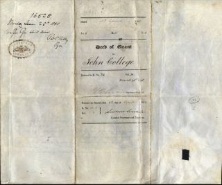 Land Grant to John College, in the village of Onehunga, signed by Governor Browne.