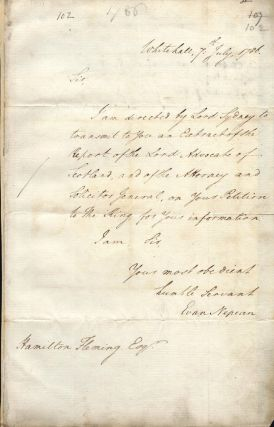 Original manuscript letter to Hamilton Fleming, signed by Under-Secretary Evan Nepean. Evan NEPEAN