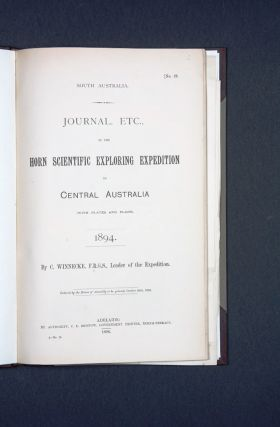 Journal, etc., of the Horn Scientific Expedition to Central Australia (with plates and plans)....
