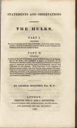 Statements and Observations Concerning the Hulks. George HOLFORD