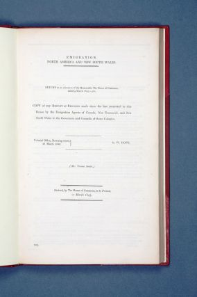 Emigration. North America and New South Wales... Copy of any report or reports made since the...