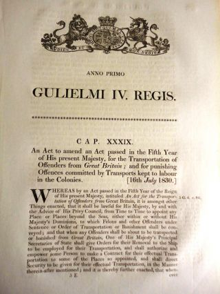 An Act to amend an Act…for the Transportation of Offenders from Great Britain; and for...