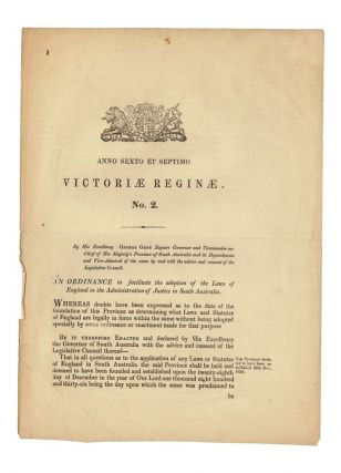Victoriae Reginae. No 2. An Ordinance to facilitate the adoption of the Laws of England in the...