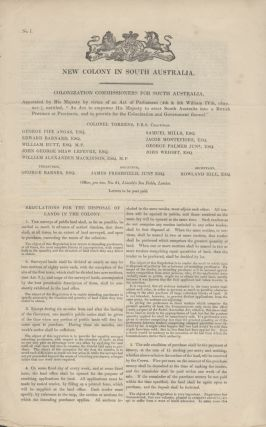 South Australia. Regulations for the Disposal of Lands in the Colony, For the Preliminary Sales...