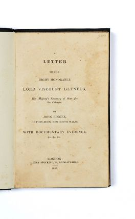 A Letter to the Right Honorable Lord Viscount Glenelg, Her Majesty's Secretary of State for the...