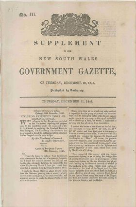 Supplement to the New South Wales Government Gazette of Tuesday, December 29, 1846…. Sir Thomas...