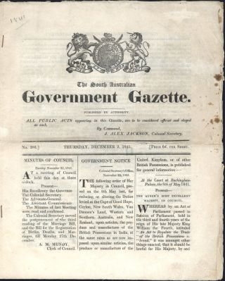The South Australian Government Gazette. Thursday, 2 December 1841. SOUTH AUSTRALIAN GAZETTE