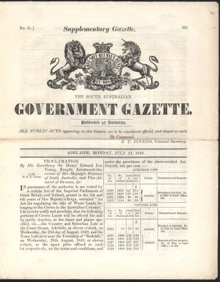 The South Australian Government Gazette. Adelaide, Monday, July 23, 1849. SUPPLEMENTARY GAZETTE