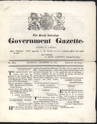 The South Australian Government Gazette. Thursday 16 December 1841. SOUTH AUSTRALIAN GAZETTE