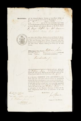 Official record for William Jones convicted of housebreaking at Hereford Quarter Sessions, 1848.