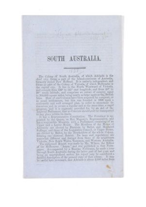"Promotional booklet; drop-title ""South Australia""… ""By an Old Colonist"" ANONYMOUS, Sir Alfred..."