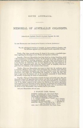 South Australia. Memorial of Australian Colonists… September 22, 1852. PARLIAMENT OF SOUTH...