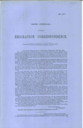 South Australia. Emigration Correspondence… 14th July 1863. Captain James P. PARLIAMENT OF...