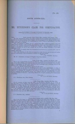 South Australia. MR. Hutchinson's Claim for Compensation… 1st September, 1864. PARLIAMENT OF...