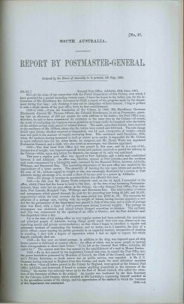 South Australia. Report by Postmaster-General… 5th July, 1861. PARLIAMENT OF SOUTH AUSTRALIA,...