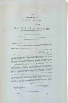 Legislative Assembly of New South Wales. Snag Boat for the River Murray… 9 June, 1858....
