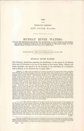 Legislative Assembly of New South Wales. Murray River Waters… 12 July 1906. PARLIAMENT OF NEW...