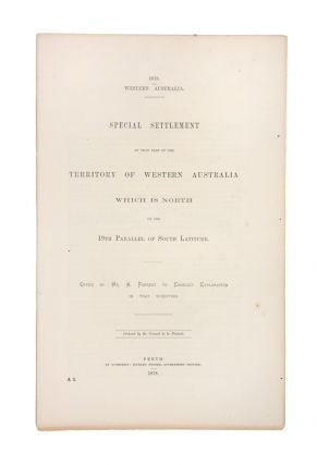 Special settlement of that part of the Territory of Western Australia which is north of the 19th...