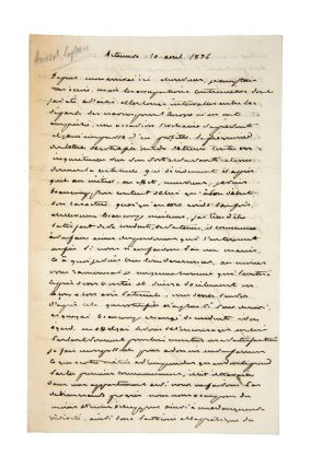 Autograph letter signed, to an unknown correspondent. Cyrille Pierre Theodore LAPLACE