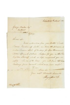 Manuscript letter and bill of loading from Fergusson & Co, Calcutta to George Ranken, Bathurst.