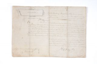 Land grant on vellum signed by Governor King, and with a small site-sketch by G.W. Evans.