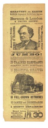 Original playbill for the P.T. Barnum's circus spectacle, featuring Jumbo.