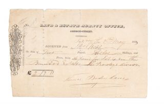 Receipt of deposit for Lot 4 in the Burwood Estate, Thos. Rowleys division. BURWOOD ESTATE, LAND, ESTATE AGENCY OFFICE.