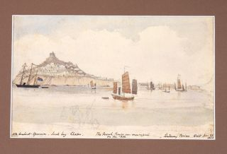 Watercolour of Chefoo (Yantai) During the Taiping Rebellion (1850-1864). CHINA: TAIPING...