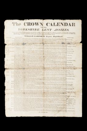 The Crown Calendar for the Yorkshire Lent Assizes, holden at the Castle of York, in and for the County of York, on Saturday the 11th Day of March, in the Year of Our Lord 1815.