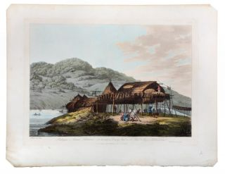 Balaguns or Summer Habitations, with the method of Drying Fish at St. Peter & Paul, Kamtschatka. COOK: THIRD VOYAGE, John WEBBER.