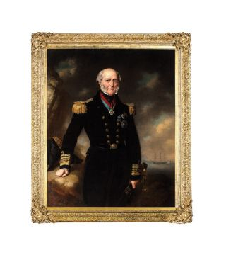 Portrait of Admiral Sir George Seymour as commander-in-chief at Portsmouth, with his flagship HMS...