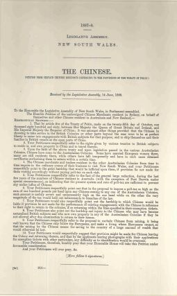 The Chinese. Petition from certain Chinese residents referring to the provisions of the Treaty of...