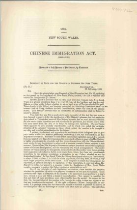 Chinese Immigration Act. Despatch. Henry Pelham-Clinton NEWCASTLE, Duke of Newcastle