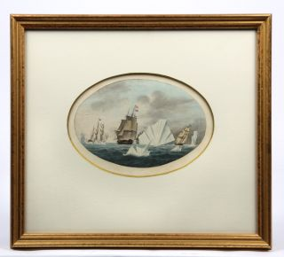 Original watercolour of a British fleet of ships among icebergs.