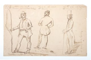 "Unsigned ink caricatures of three men from ""Botany Bay"", ""New England"" and ""Sydney"" NEW SOUTH WALES"