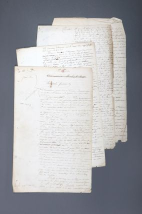 An archive group of three original manuscripts concerning Tasmania. DUMONT D'URVILLE,...