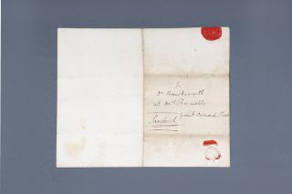"Autograph letter signed, from the Earl of Sandwich to ""Dr Hawkesworth at Mrs Banwells Great..."