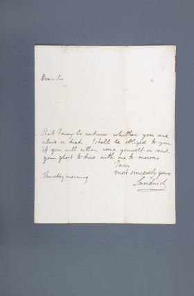 "Autograph letter signed, from the Earl of Sandwich to ""Dr Hawkesworth at Mrs Banwells Great Ormond Street"""