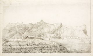 Original pencil sketch of Port Louis from the Ile aux Tonneliers. BAUDIN VOYAGE,...