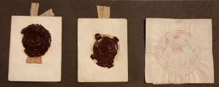 Original seal-impressions from early Grants. MACQUARIE, Governor Lachlan MACQUARIE